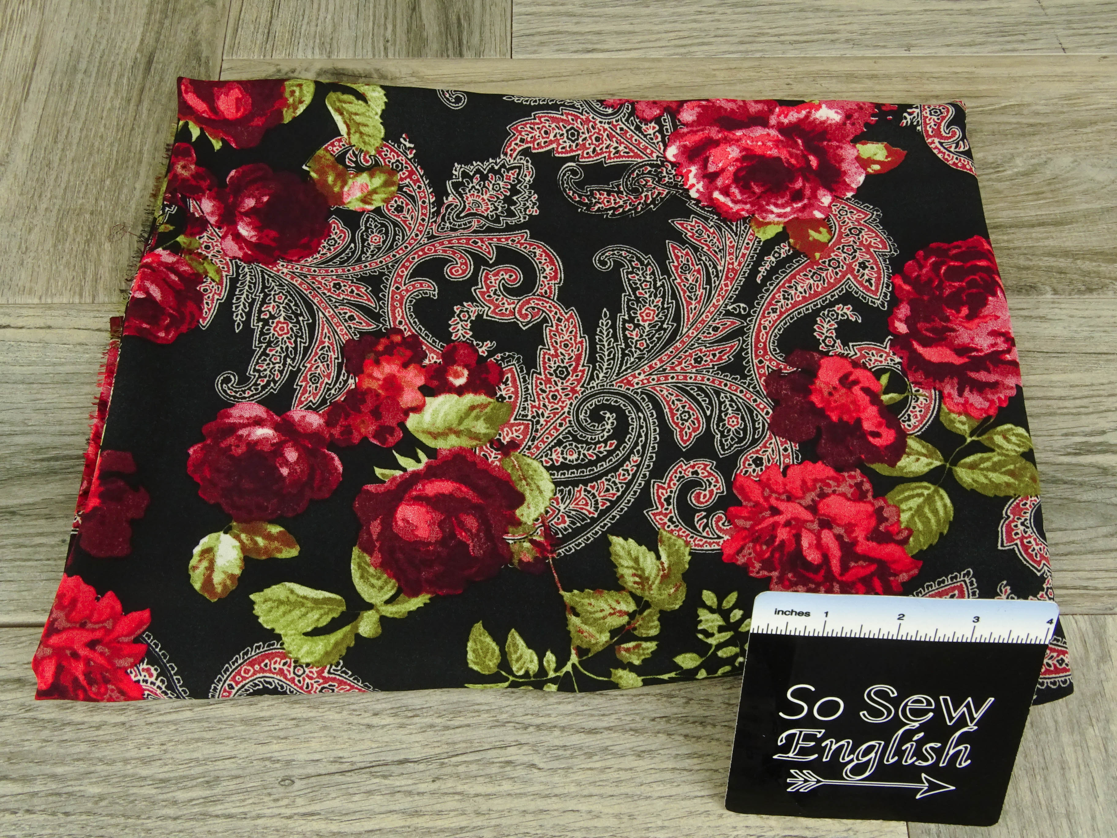 Black/Red PAISLEY FLORAL -Wool Dobby WOVEN - By the yard