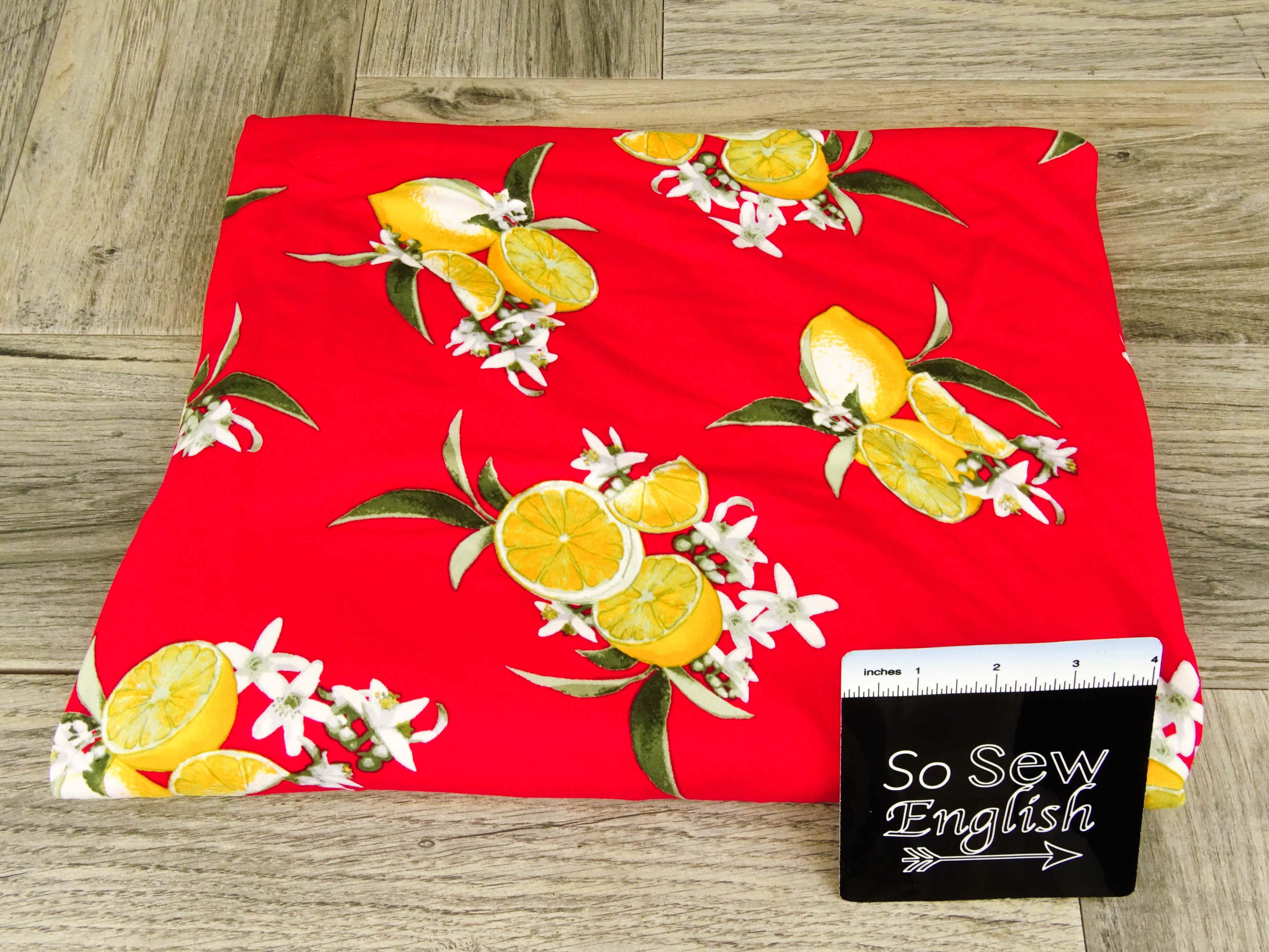 Red LEMON FLORAL - Double Brushed Poly Spandex -By The Yard