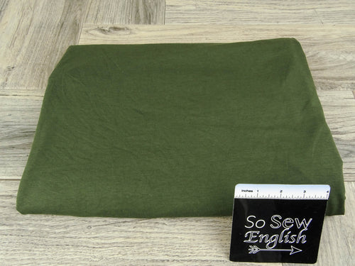 Solid Dark Olive -Micro Viscose Cotton Spandex - By the yard