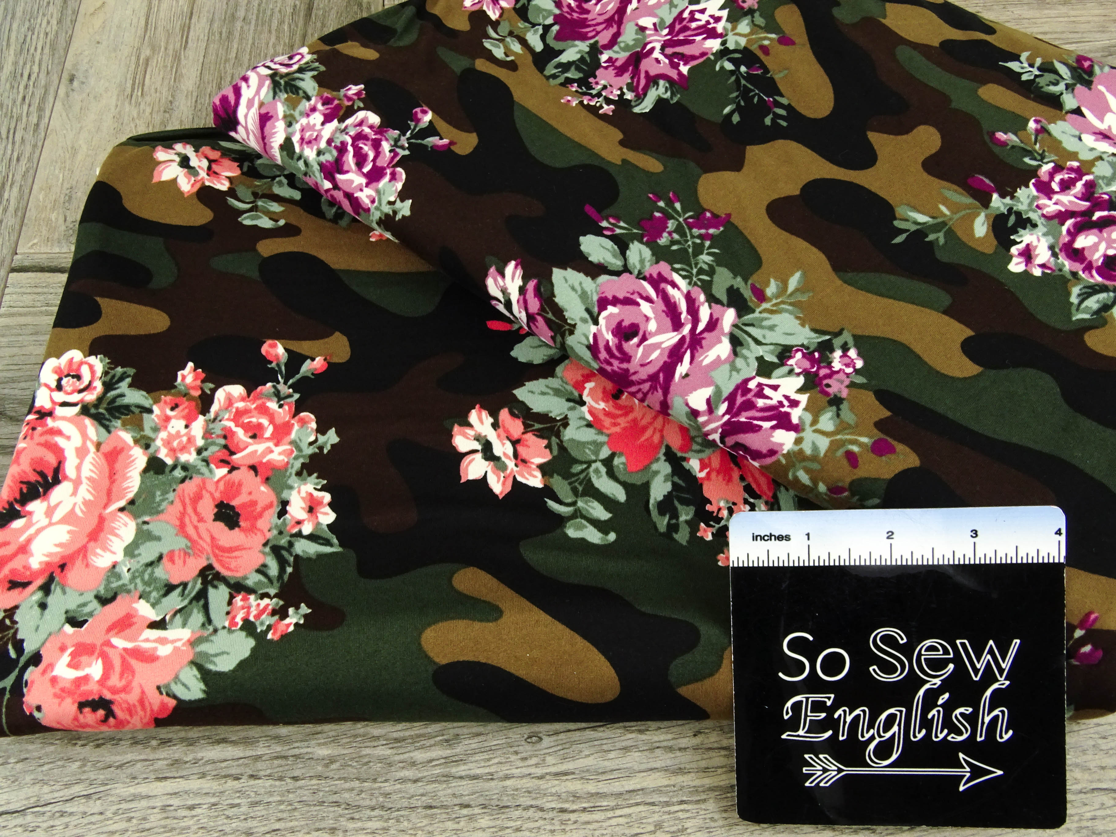 Olive/Coral CAMO FLORAL- Double Brushed Poly Spandex -By The Yard