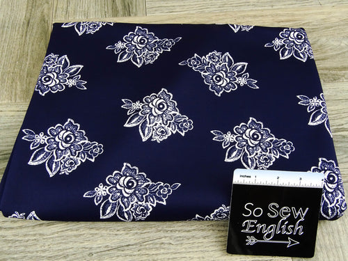 Navy Little Lace Floral- Scuba Knit -By The Yard
