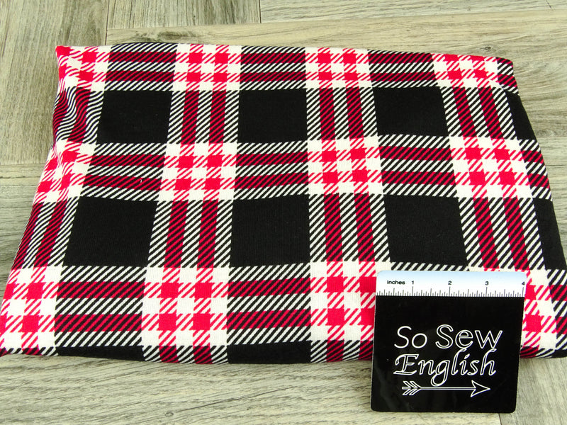 Black/Red DEVON PLAID - Brushed Hacci Sweater Knit - By The Yard