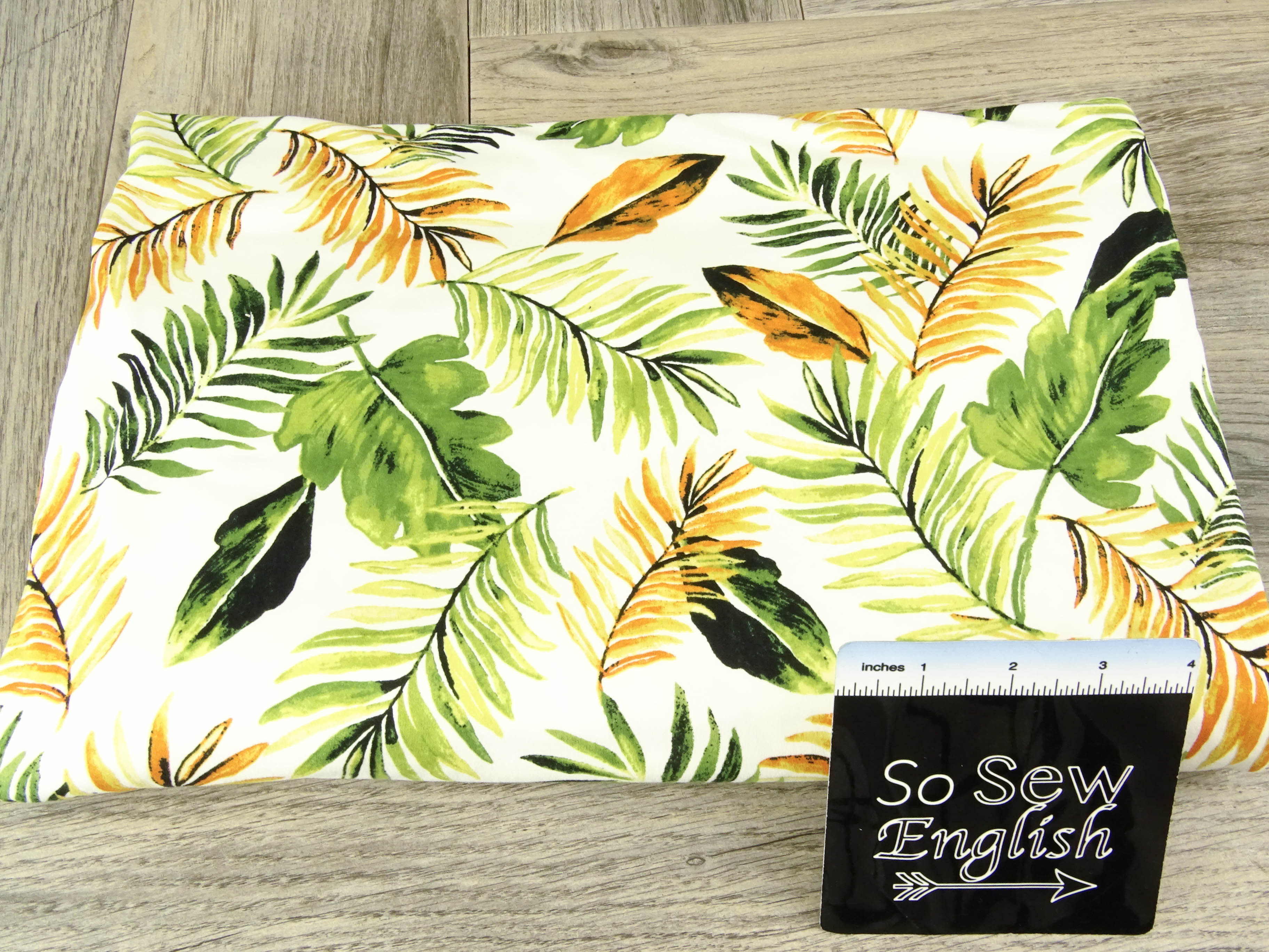 Ivory FALL LEAVES - Single Brushed Poly Spandex -By The Yard