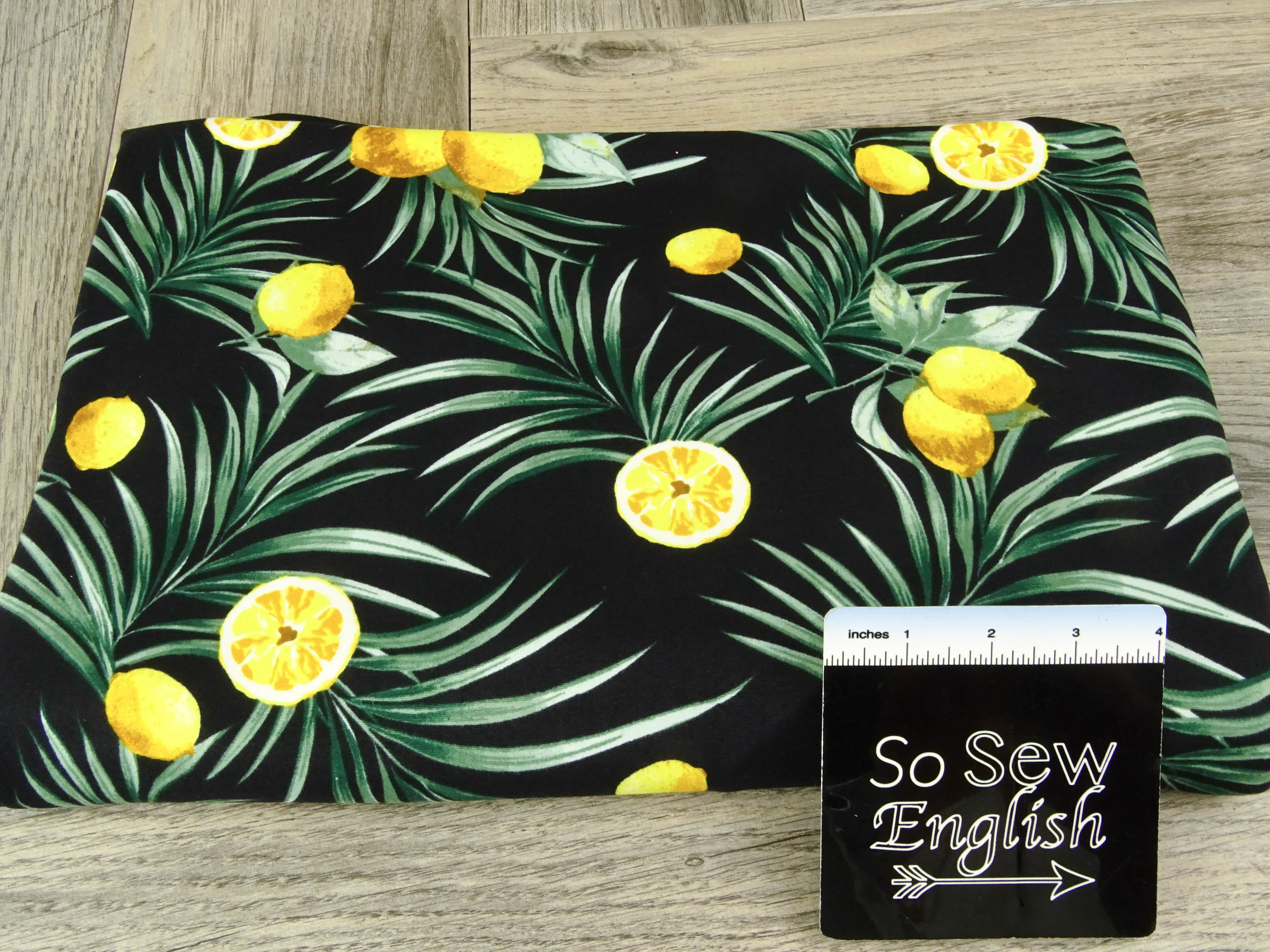 Black LEMON PALM - Single Brushed Poly Spandex -By The Yard