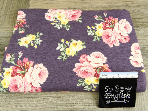 Purple HADLEY -Poly Rayon Spandex French Terry - By the yard