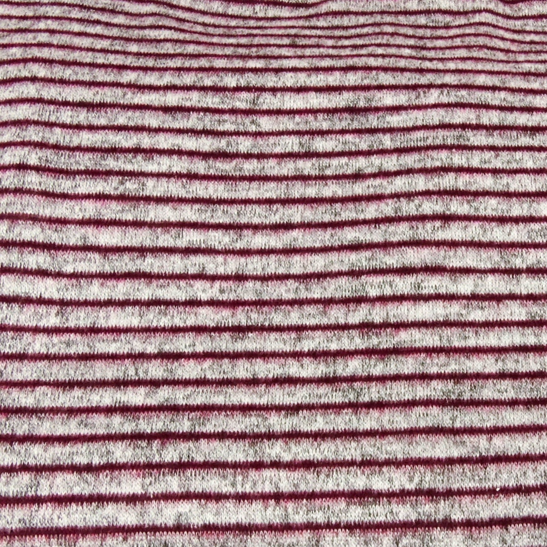Heather Grey/Burgundy PINSTRIPE - Hacci Sweater Knit - By The Yard