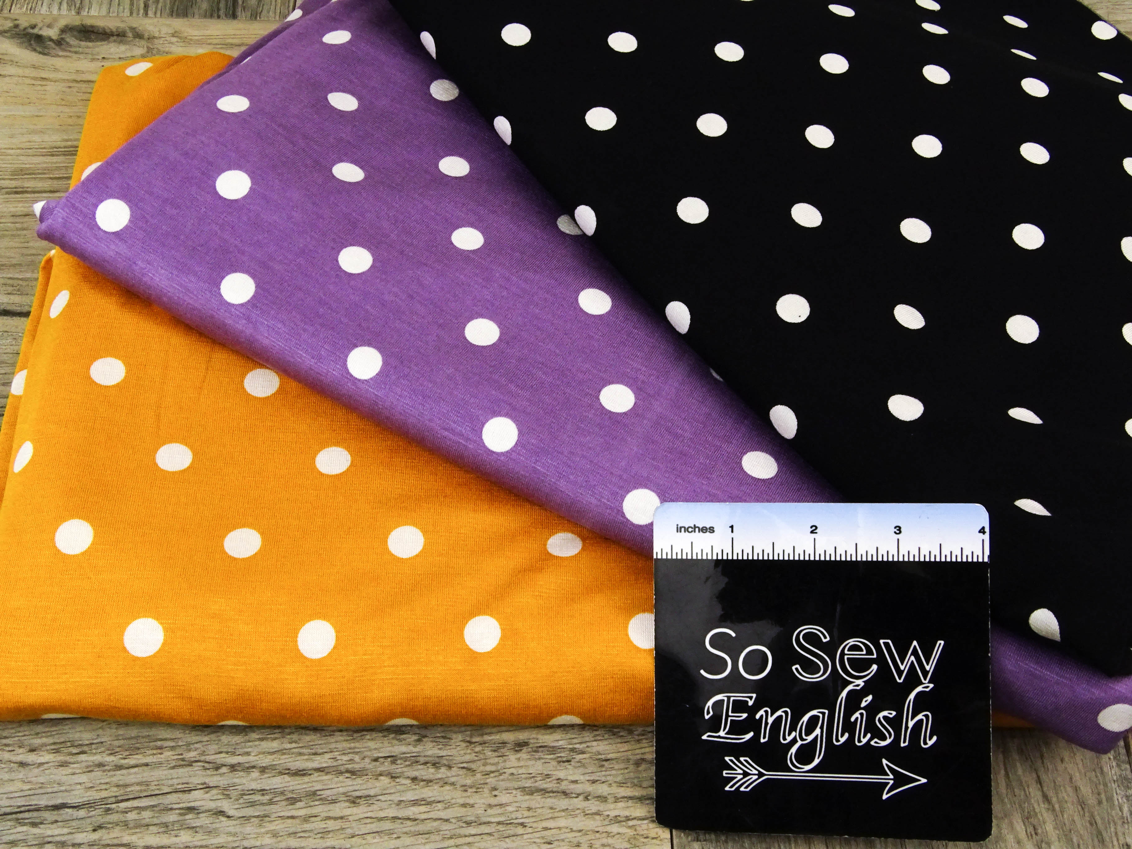 Black Polka Dots - Rayon Spandex -By the yard