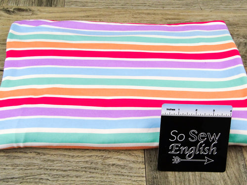 Coral/Lilac JUDE Stripe - Double Brushed Poly Spandex -By The Yard