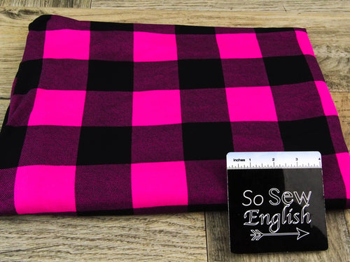 Fuchsia/black PLAID - Double Brushed Poly Spandex - By The Yard