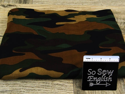 Black/Brown CAMO - Double Brushed Poly Spandex -By The Yard
