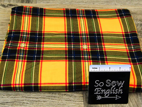Gold GAVIN Plaid - Double Brushed Poly Spandex -By The Yard