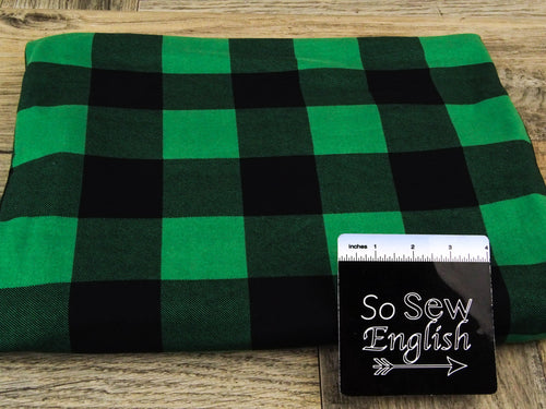 Green/black PLAID - Double Brushed Poly Spandex - By The Yard