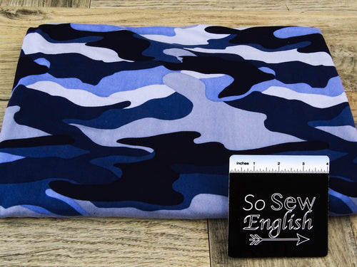 Navy/Denim CAMO - Double Brushed Poly Spandex -By The Yard
