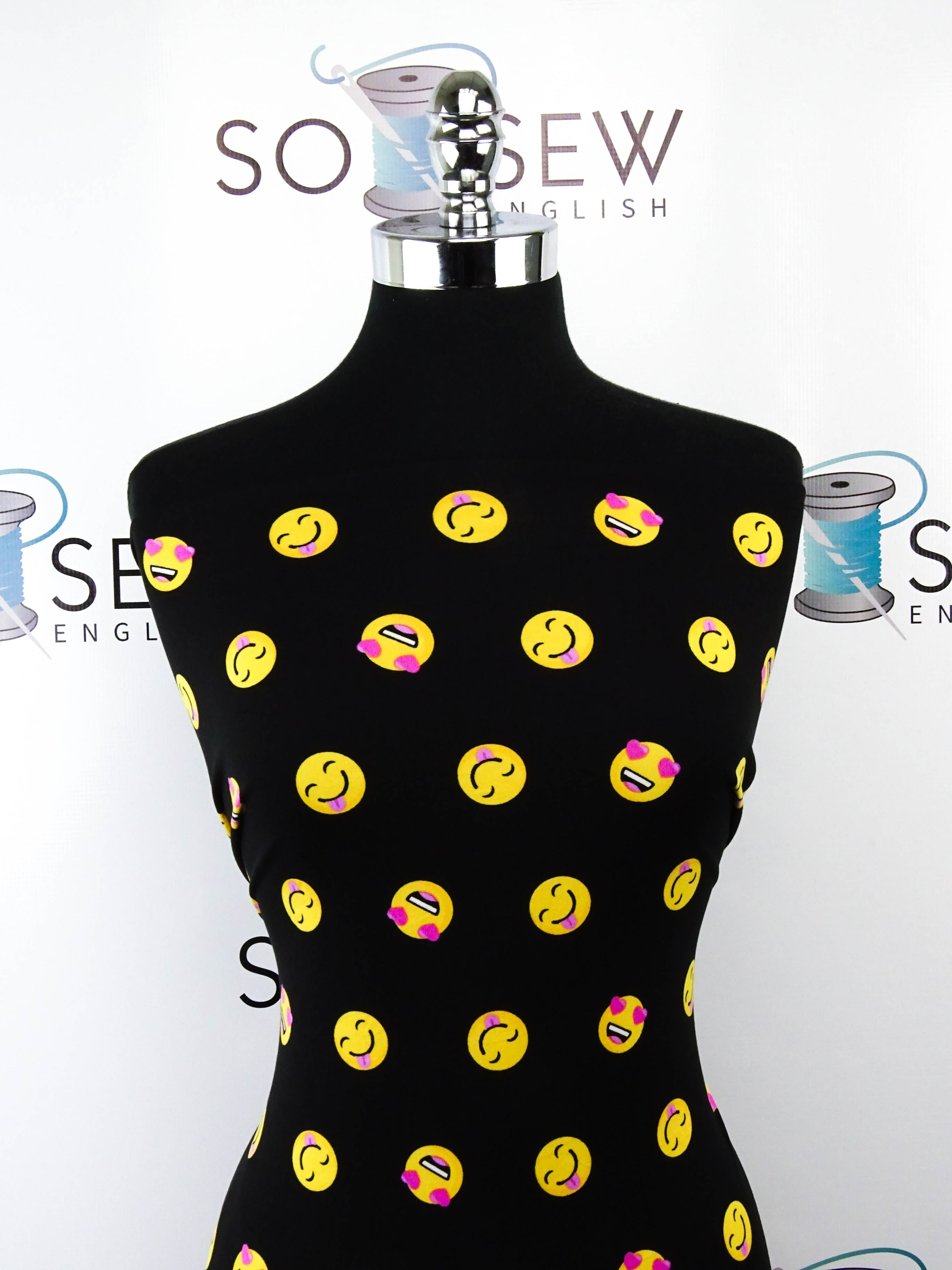 Black SMILEY FACE - Double Brushed Poly Spandex -By The Yard
