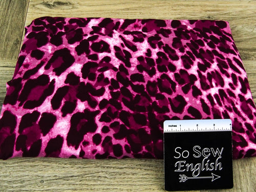 Burgundy/Mauve BIG ANIMAL - Double Brushed Poly Spandex -By The Yard (animal, cheetah)