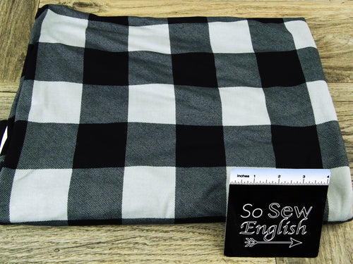 Grey/black PLAID - Double Brushed Poly Spandex - By The Yard