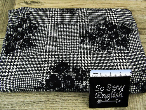 Black on Black Floral Houndstooth - Double Brushed Poly Spandex -By The Yard