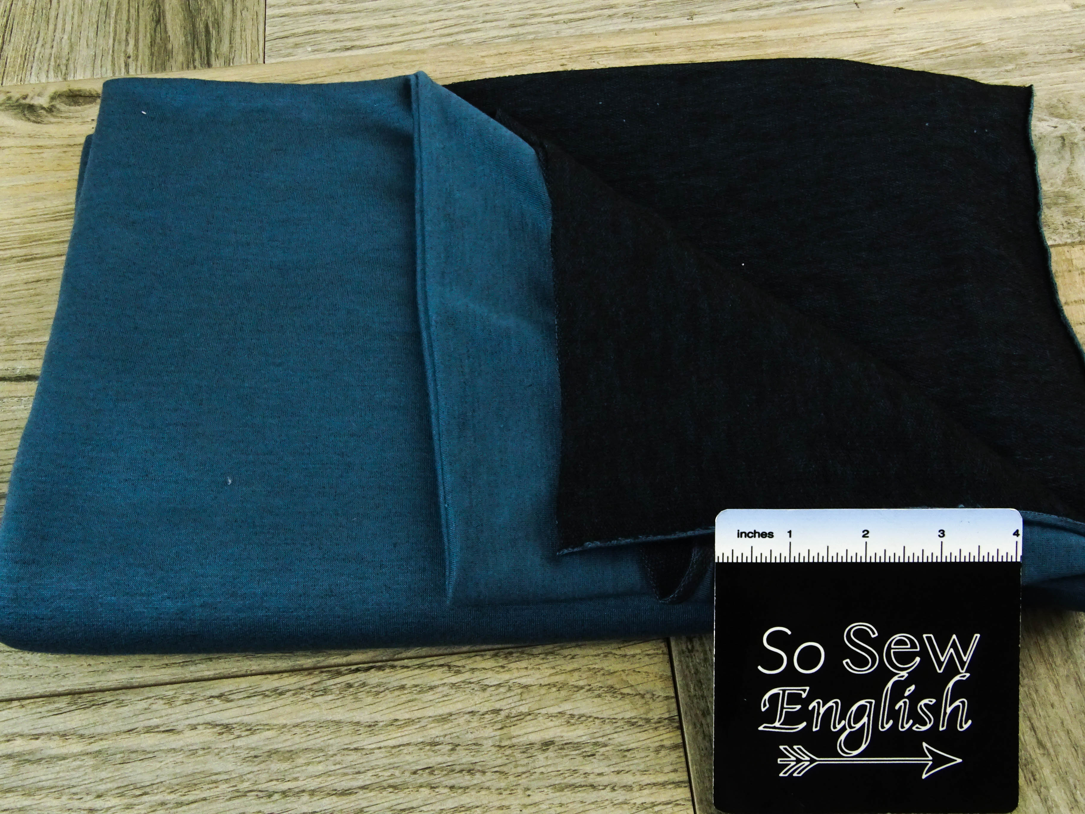 Two-Face TEAL  -Poly Rayon Spandex  French Terry - By the yard