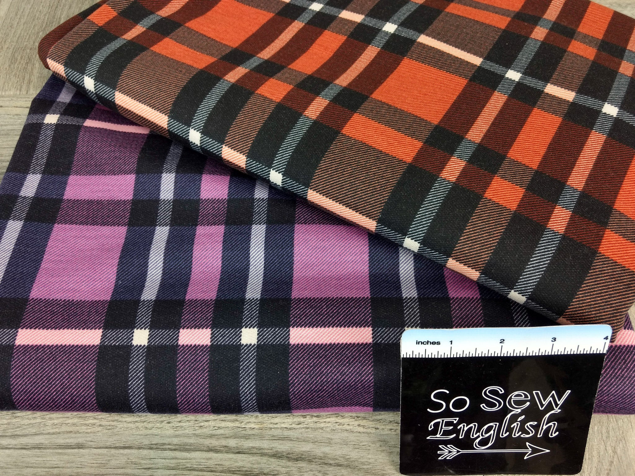 Rust/Black ERIN PLAID -French Terry- By the yard