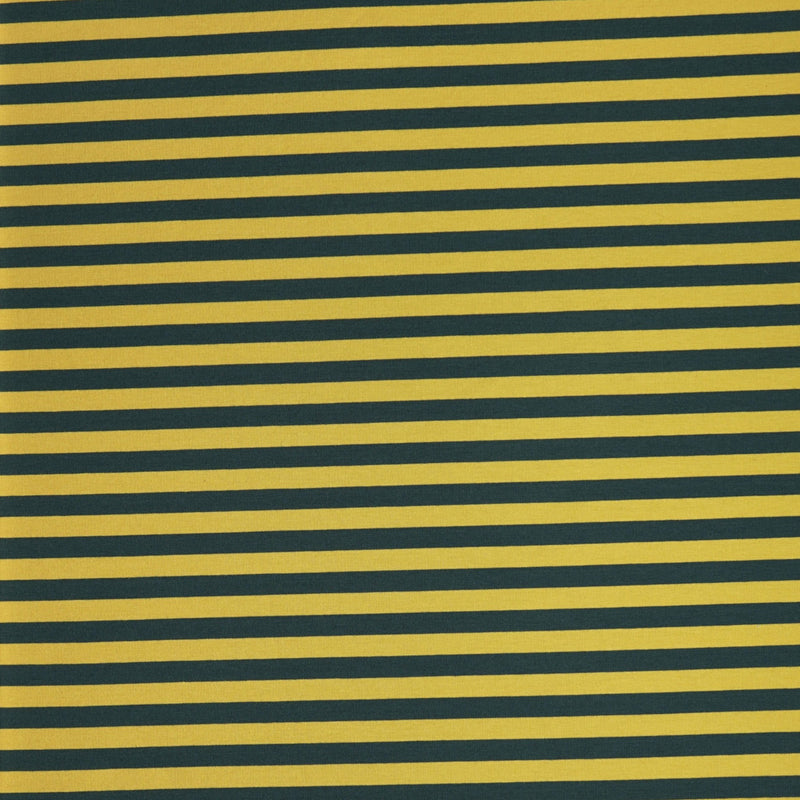 Yellow/Green STRIPE -230gsm Cotton Spandex French Terry- By the yard