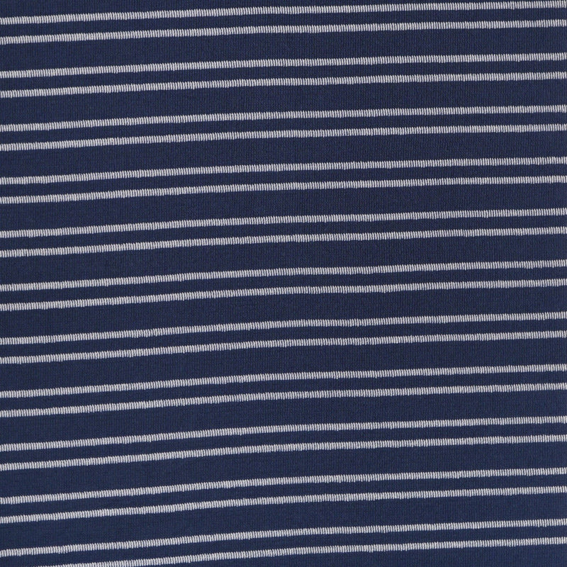 Navy Thin Stripe - Textured French Terry- By the yard