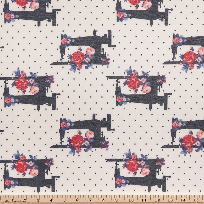 Ivory SEWING MACHINE DOT - French Terry- By the yard