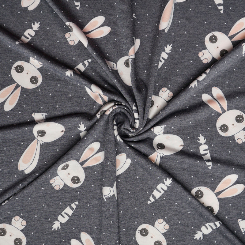 Navy HOP TO IT - French Terry- By the yard (Bunny, Bunnies)