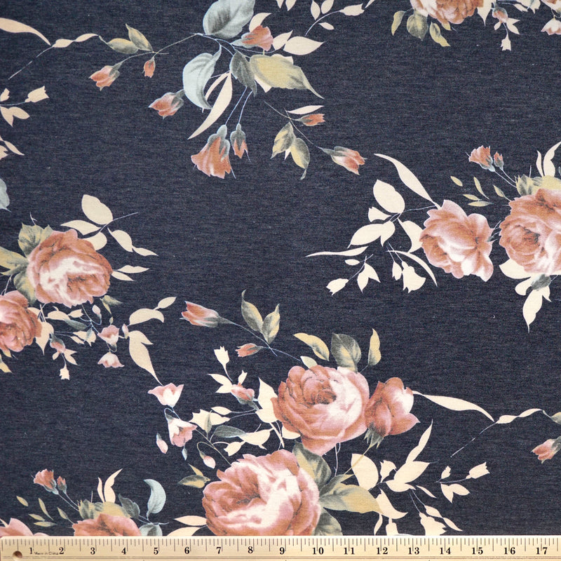 Navy BLUSH LILLY -French Terry- By the yard