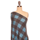 Soft Black/Teal BUFFALO PLAID -French Terry- By the yard