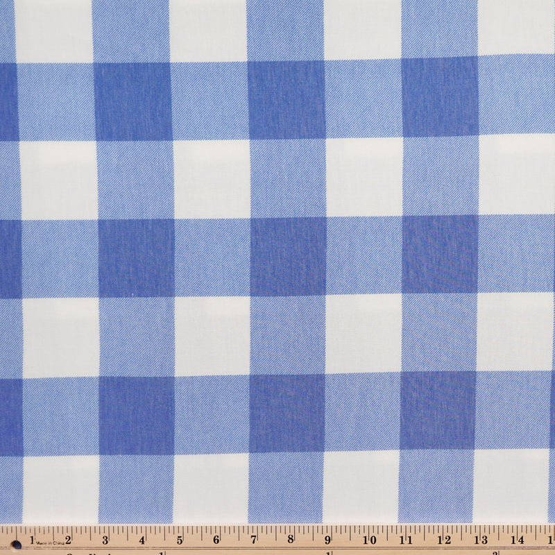 Royal/White BUFFALO PLAID -French Terry- By the yard