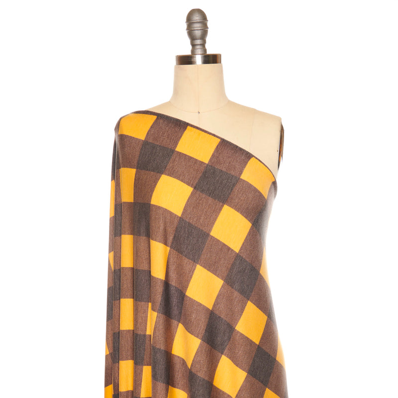 Black/Gold BUFFALO PLAID -French Terry- By the yard