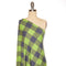 Navy/Lime BUFFALO PLAID -French Terry- By the yard