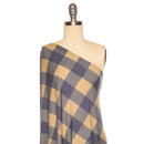 Navy/Taupe BUFFALO PLAID -French Terry- By the yard