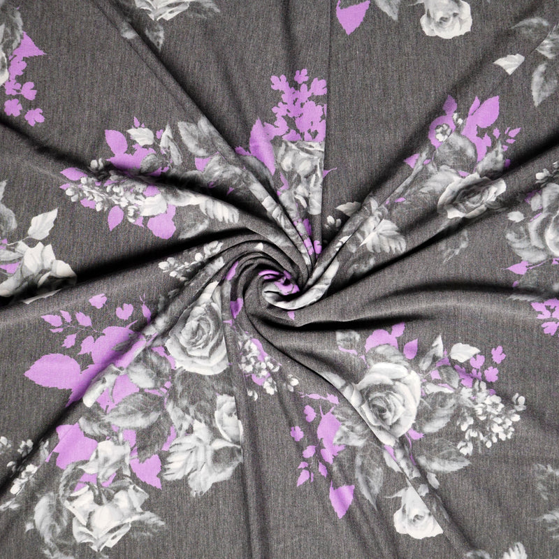 Soft Black/Purple ROSA -French Terry- By the yard