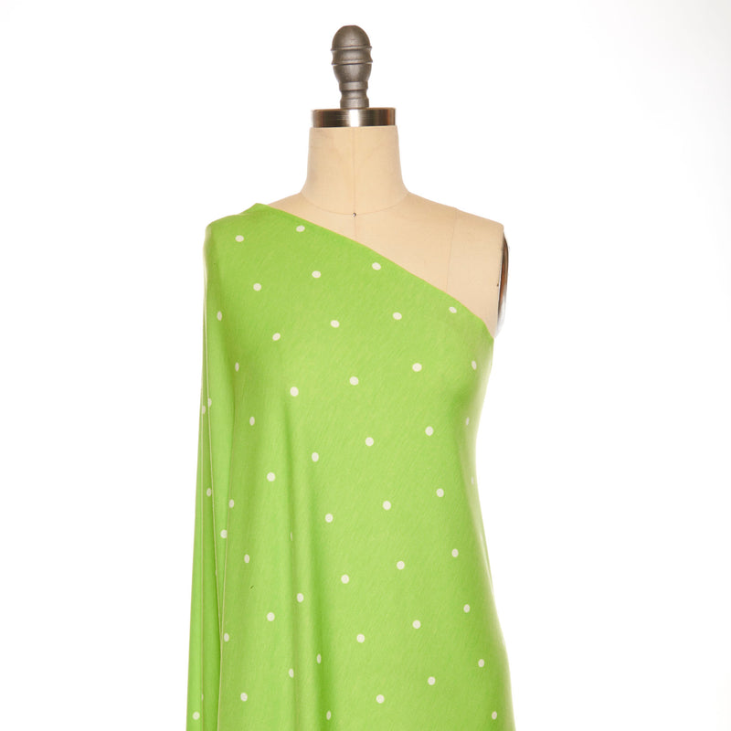 Lime/Ivory DOT -French Terry- By the yard