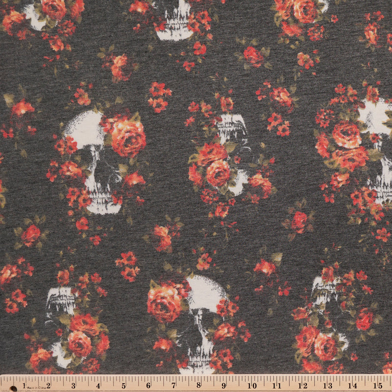 Soft Black FLORAL SKULLS -French Terry- By the yard