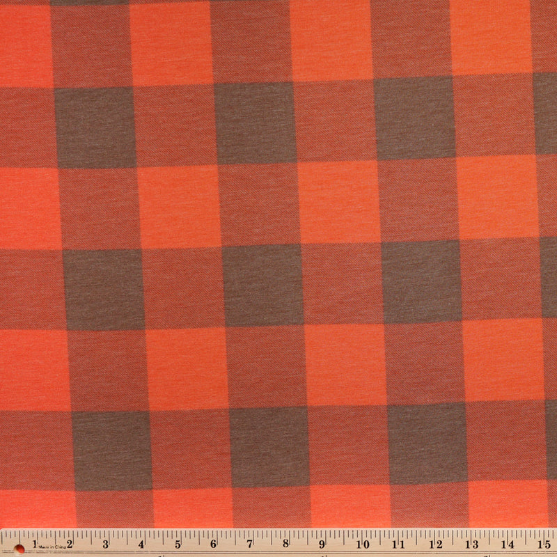 Brown/Orange BUFFALO PLAID -French Terry- By the yard