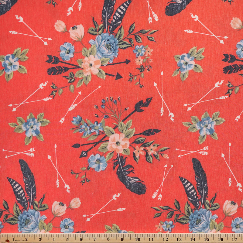 Coral Floral Feathered Arrows -French Terry- By the yard