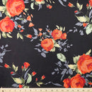 Black/Red Blush Lilly - Cotton Spandex Brushed French Terry - By The Yard