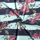 Aqua/Navy Stripe Blush Lilly - French Terry - By The Yard