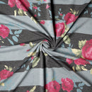 Black/Charcoal Stripe Blush Lilly - French Terry - By The Yard