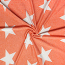 Orange STARS - Poly Rayon Spandex French Terry- By the yard