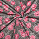 Black/Fuchsia DENISE Floral Lace -French Terry- By the yard