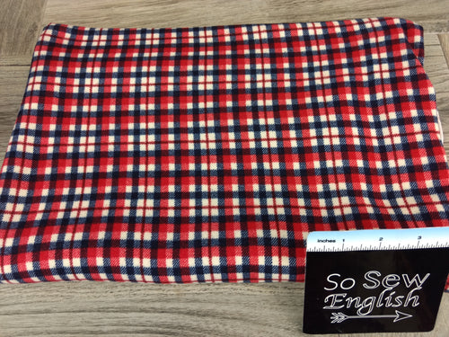 Crimson FERGUS PLAID -Brushed Hacci - By The Yard