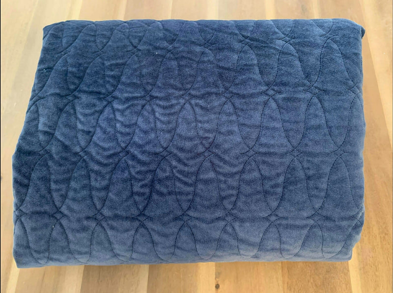 Navy Wave - Quilted Velvet - By the Yard