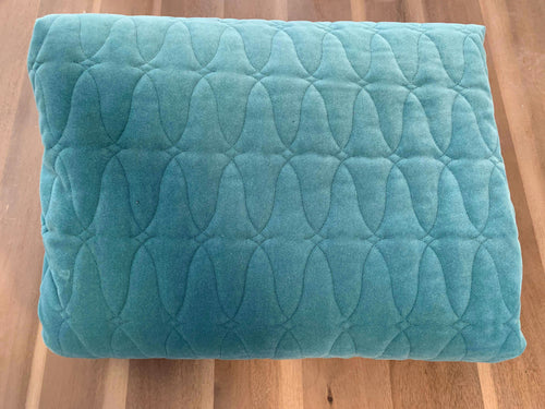 Light Teal Wave - Quilted Velvet - By the Yard