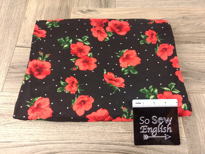 Black/Red BRYNN Dot Floral - Double Brushed Poly Spandex -By The Yard