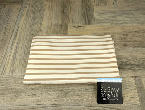 Ivory/Taupe Stripe - Modal Spandex - By the yard