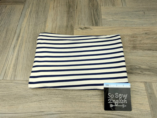 Ivory/Navy Stripe - Modal Spandex - By the yard