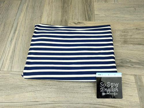 Navy/Ivory Stripe - Modal Spandex - By the yard